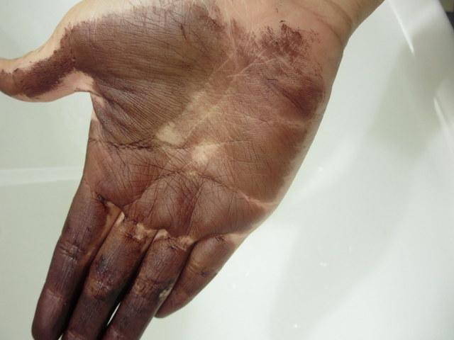 マイナチュレ ヘアカラートリートメント 手の汚れが落ちにくい