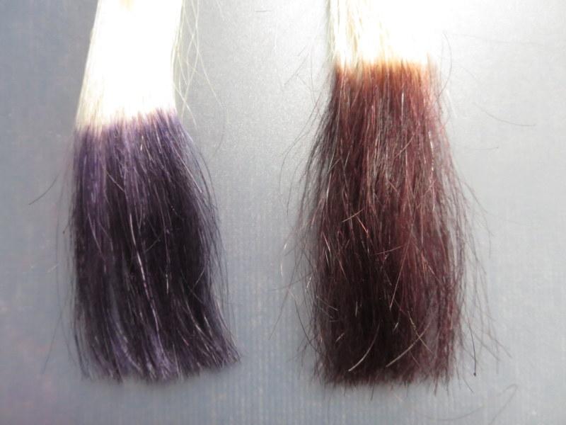 ウエラトーン ヘアカラートリートメントで実際に白髪テスターを染めてみました。1回目 他のダークブラウンとの比較 やっぱりウエラトーンは紫色に見える