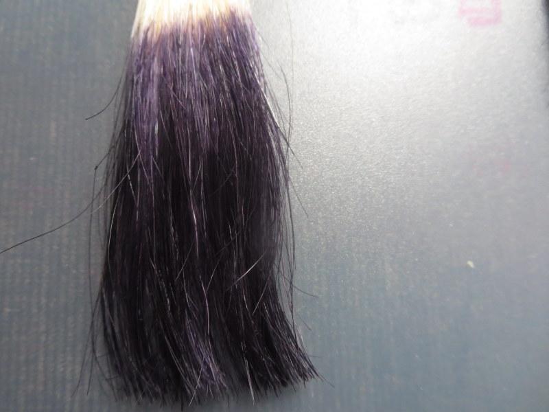 ウエラトーン ヘアカラートリートメントで実際に白髪テスターを染めてみました。1回目 白髪100%に使うと紫色に見える